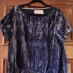 Anthropologie crushed velvet navy dress